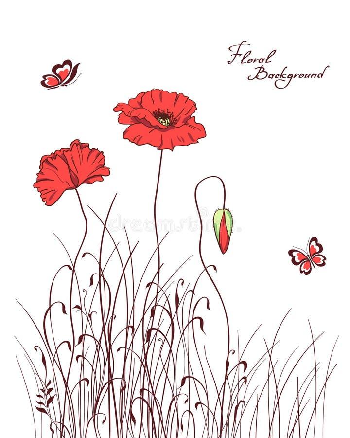 trawy maczka czerwień ilustracja wektor