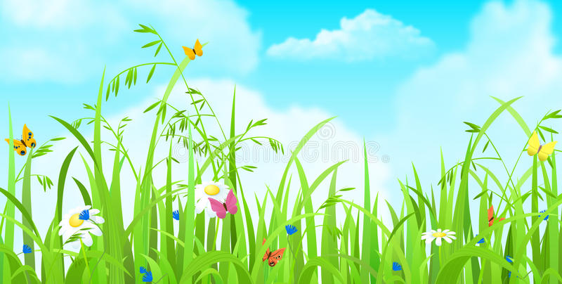Trawy, motyla, kwiatu i chmury nieba wektorowy płaski tło, ilustracji