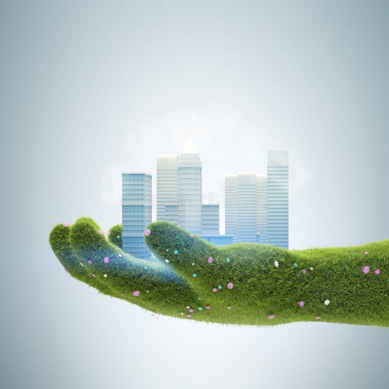 Trawy ręki mienia miasto ilustracja wektor