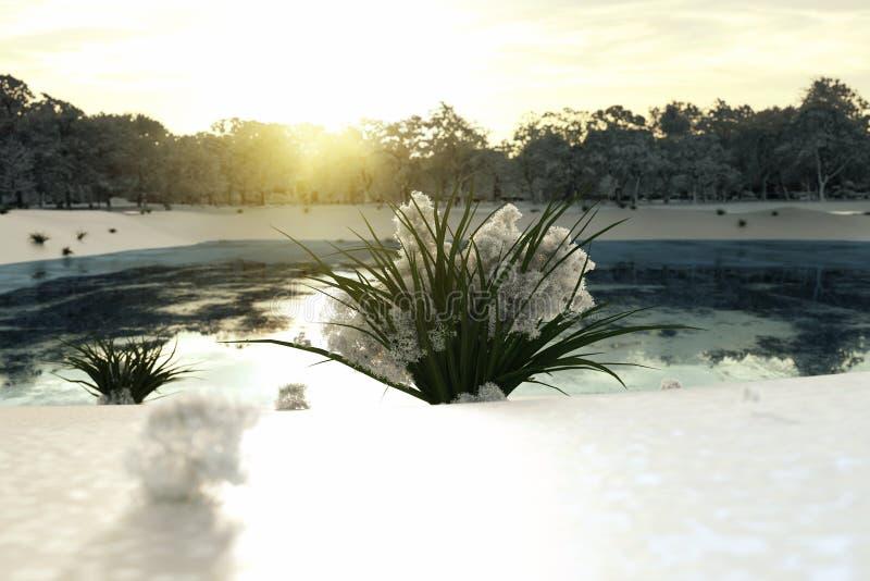 Trawy wiązka z roztapiającym śniegiem na nim przed ilustracja wektor