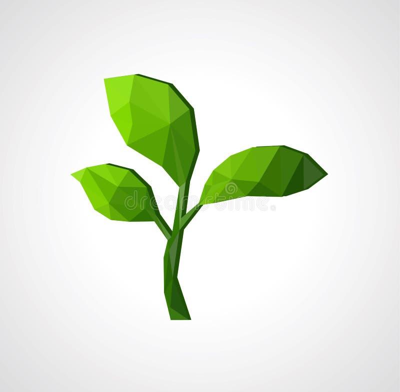 Trawy zieleni flanca drzewo z liśćmi na szarym tle jest ilustracji