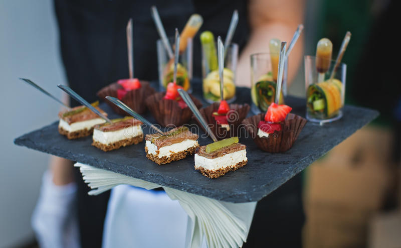 Tray of appetizers. In restaurant royalty free stock photography