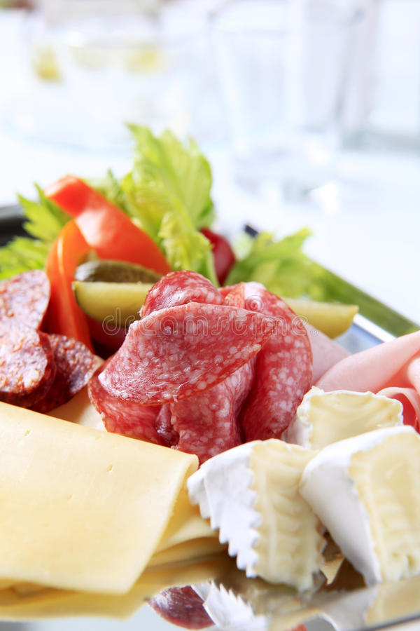 Tray of cold cuts royalty free stock photo