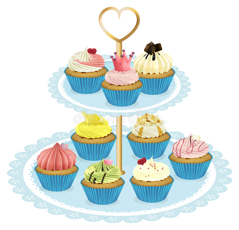 A tray with cupcakes. Illustration of a tray with cupcakes on a white background vector illustration