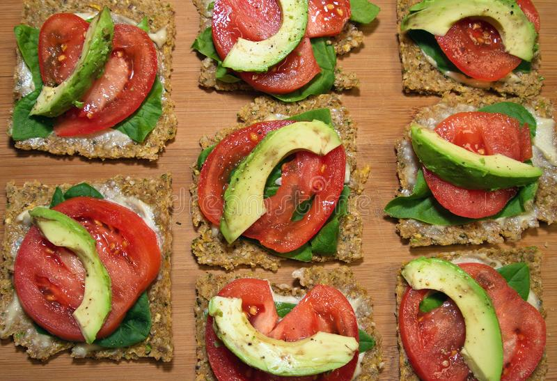 FLAX SEED CRACKERS, RAW VEGAN stock images