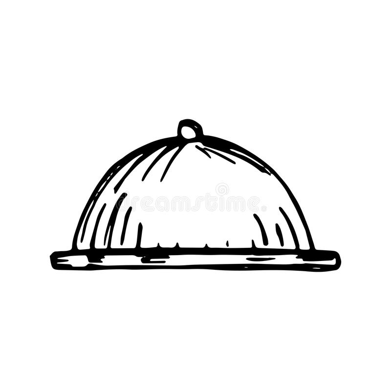 Tray-dish metal vector sketch isolated royalty free illustration