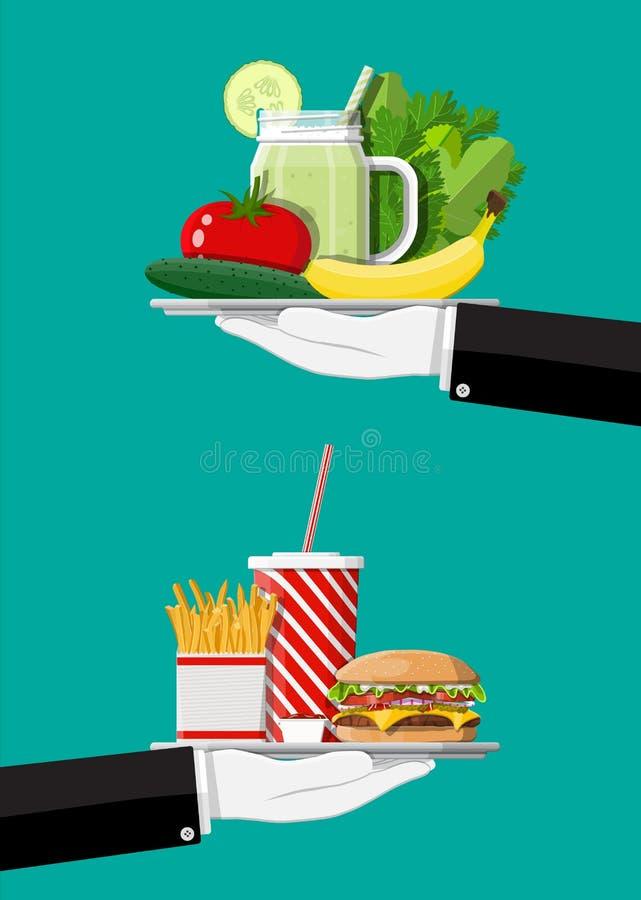 Greasy cholesterol vs. vitamins food vector illustration