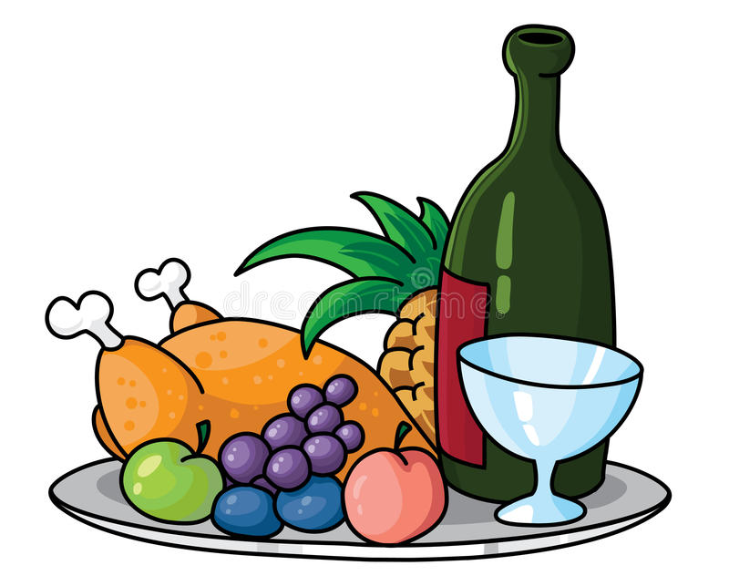 Download Tray with food stock vector. Image of pineapple, cartoon - 14156179