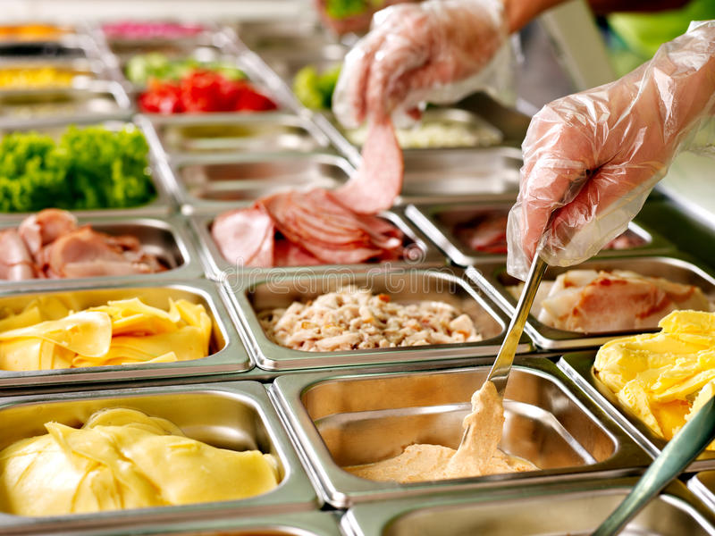 Download Tray With  Food  On Showcase At Cafeteria Stock Image - Image: 30465405