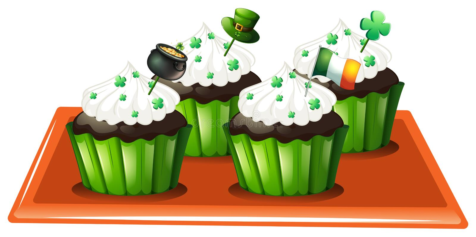 Download A Tray With Four Chocolate Cupcakes Stock Vector - Illustration: 33693792