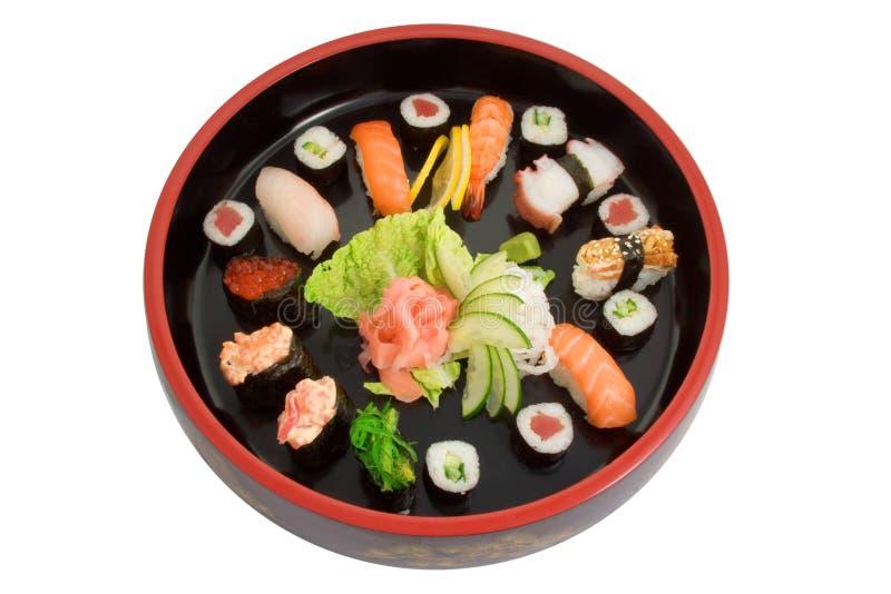 Tray of fresh sushi royalty free stock photography
