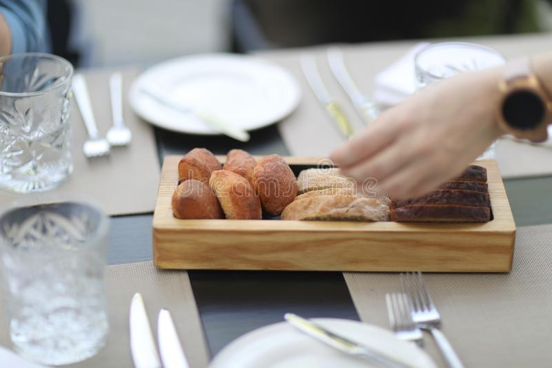 Tray of freshly baked pastries in a restaurant royalty free stock photo