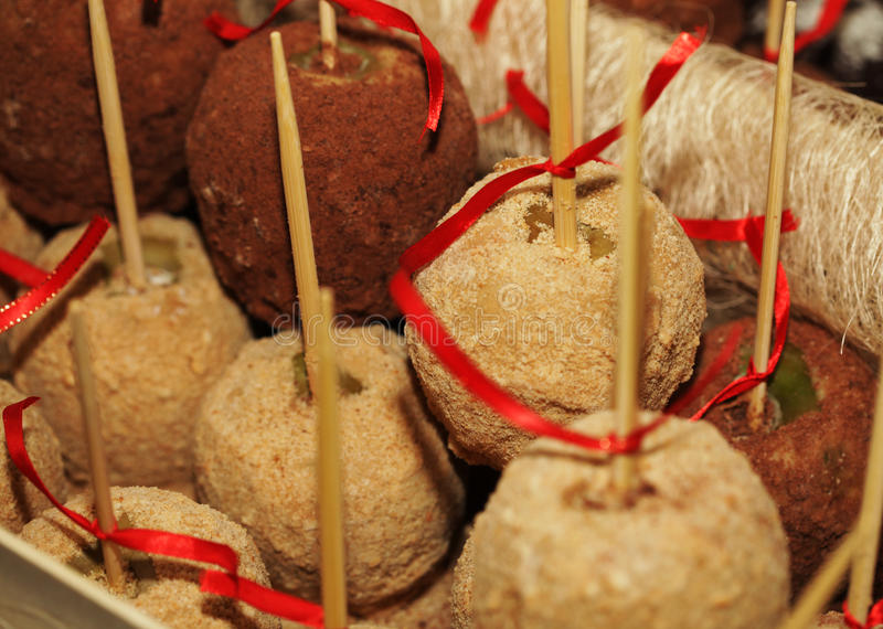 Download Tray Full Of Caramel And Candied Apples. Stock Photo - Image: 39903520