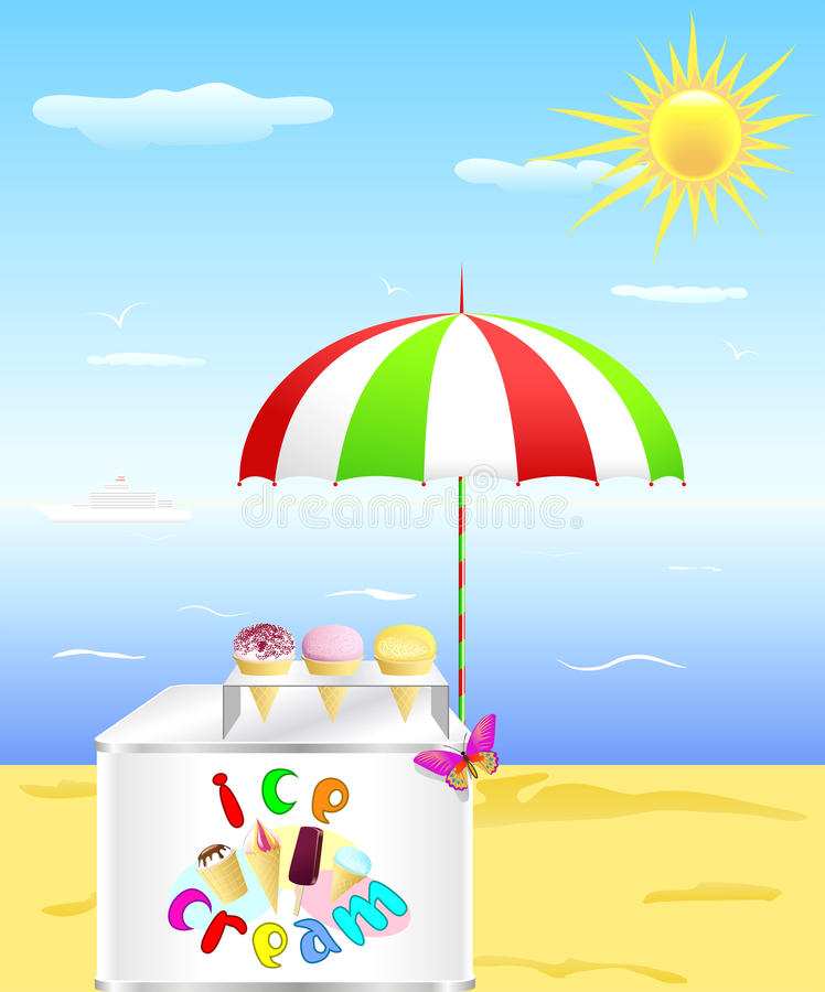 Download Tray With Ice Cream Is On The Beach. Royalty Free Stock Images - Image: 23550239