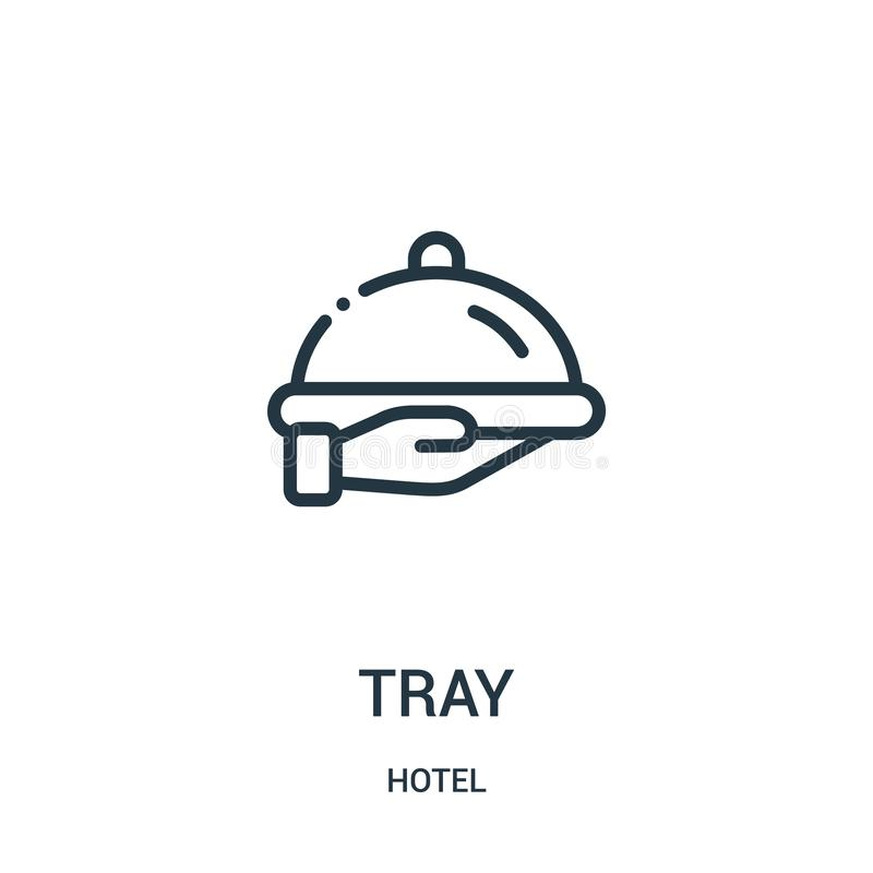 tray icon vector from hotel collection. Thin line tray outline icon vector illustration stock illustration