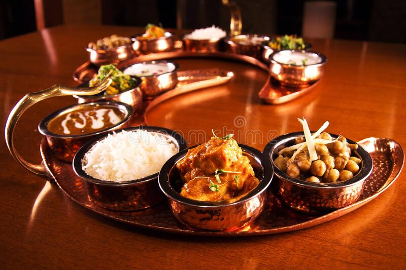 Tray Of Indian Dishes On Table Free Public Domain Cc0 Image