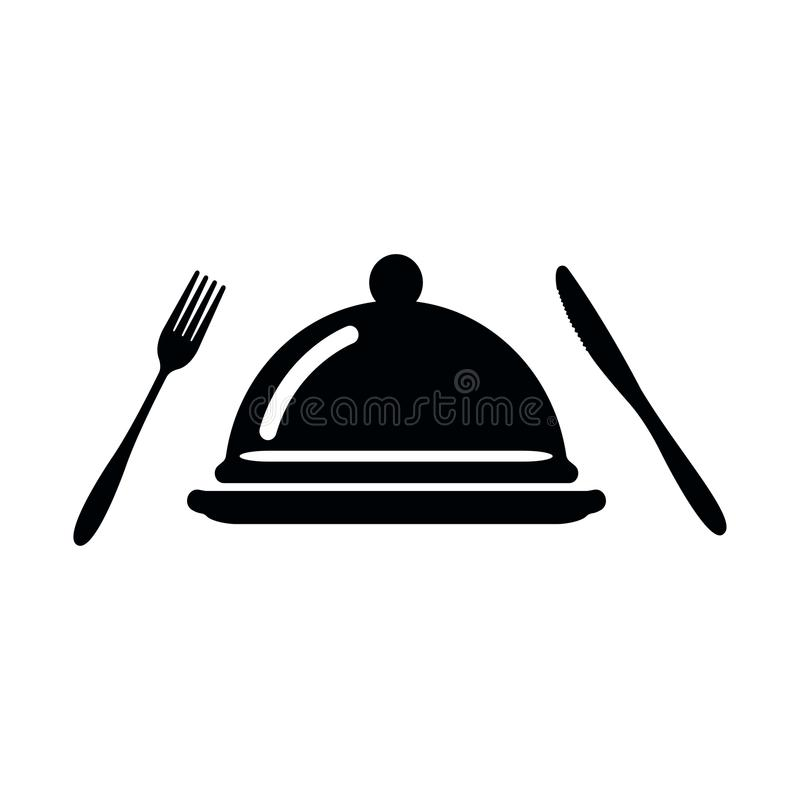 Tray with lid, fork and knife vector icon. cutlery isolated on white background vector illustration