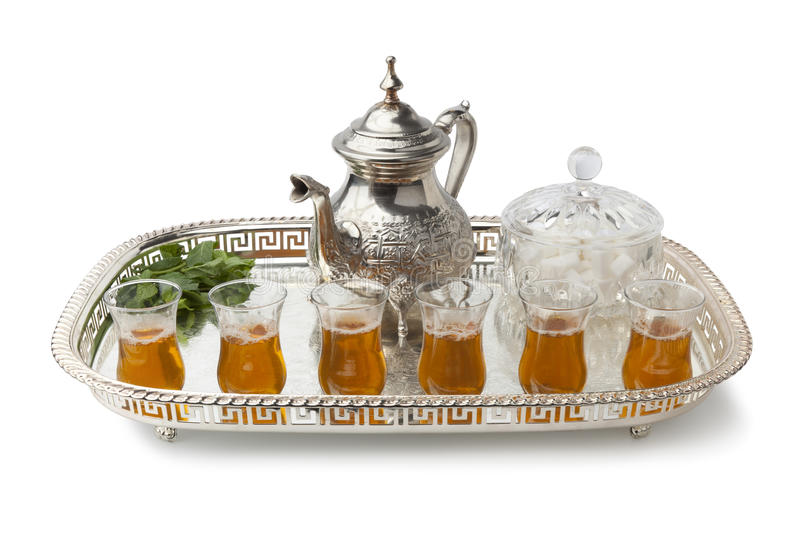 Tray with Moroccan mint tea. Tray with traditional Moroccan mint tea on white background stock photos