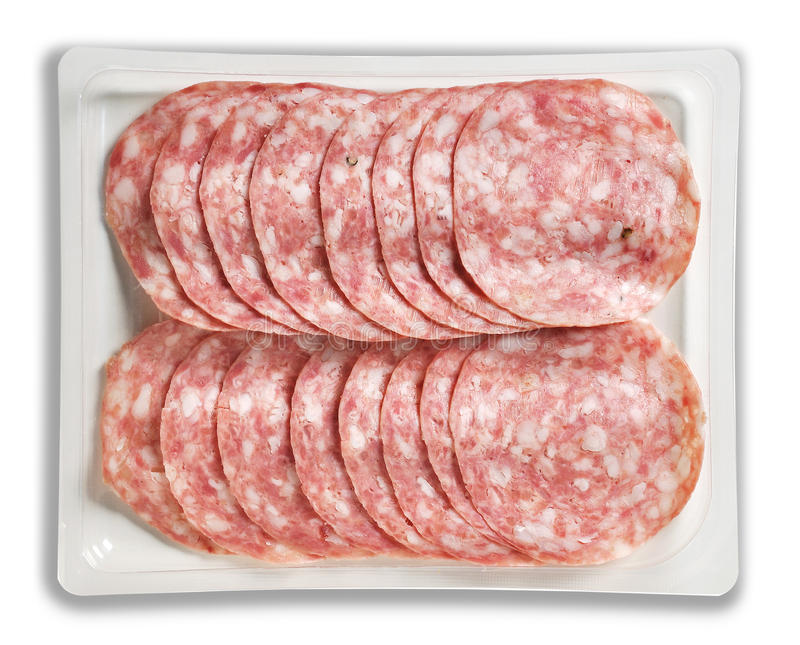 Tray Packaged of pork cooked salami. Top view of Tray Packaged of pork cooked salami royalty free stock photos