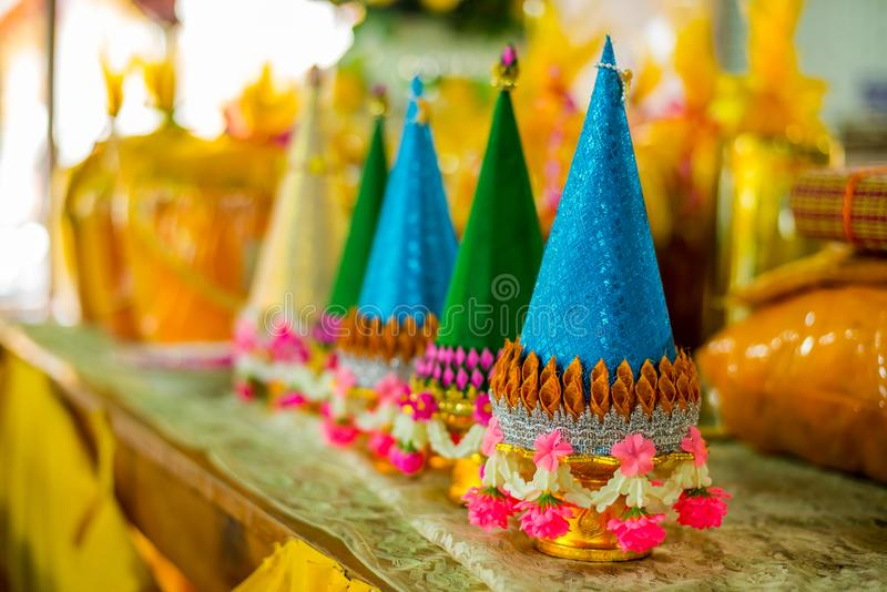 Tray of Pedestal Phan Baisri for dedicate the Buddha. In Thailand Tradition royalty free stock photography