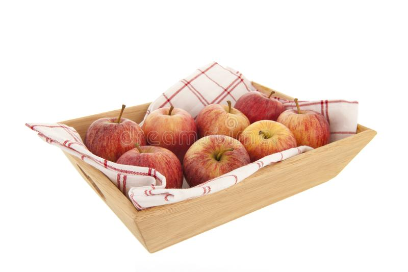 Tray red apples stock photo