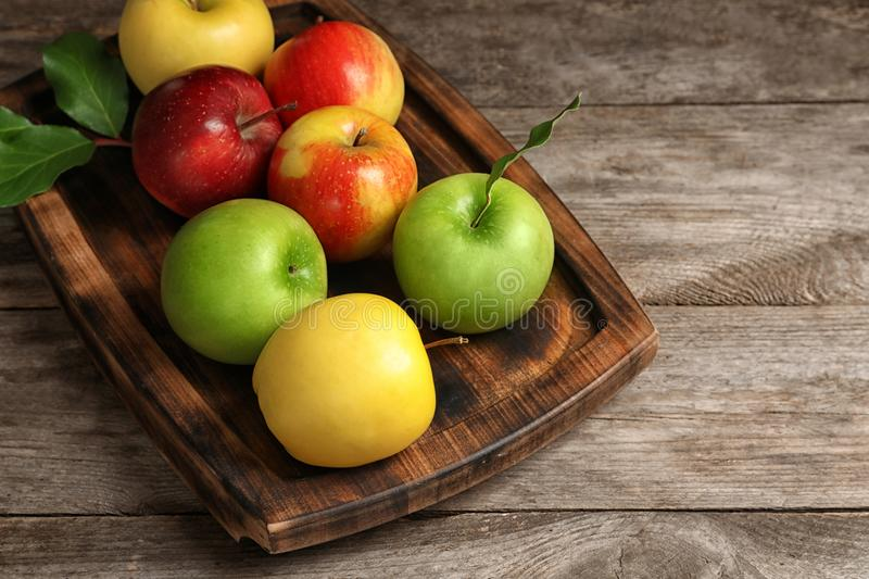 Tray with ripe juicy apples stock photography