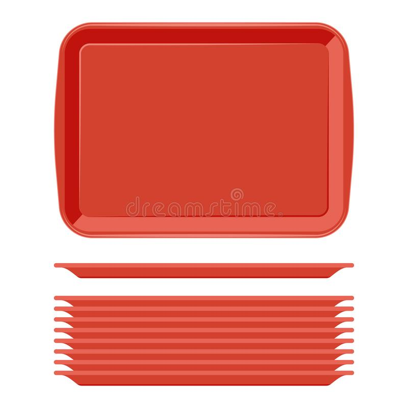 Tray Salver With Handles plástico rojo rectangular libre illustration