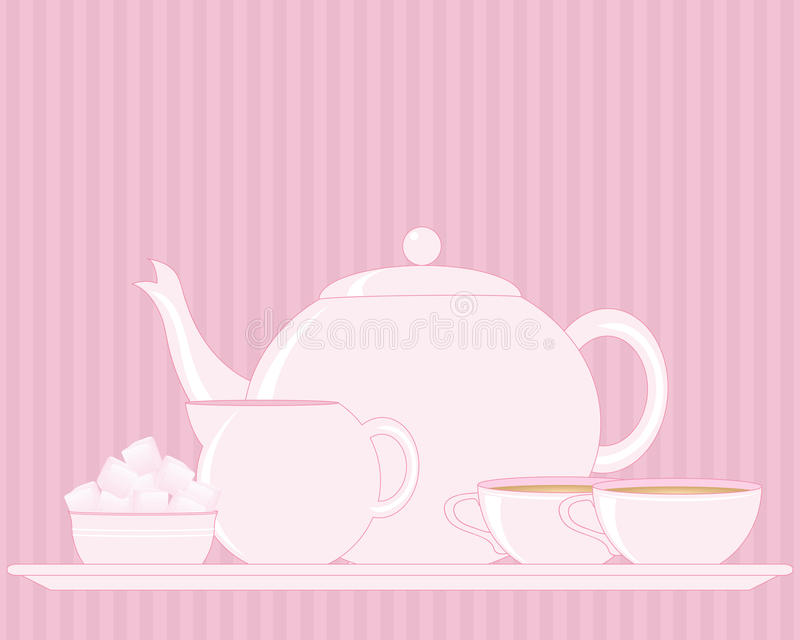 Tray with teapot. An illustration of a tray with tea set including teapot sugar bowl milk jug and cup on a pink vintage background royalty free illustration