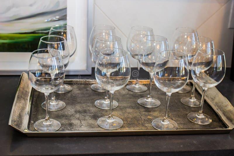 Tray Of Twelve Wine Glasses stock foto's
