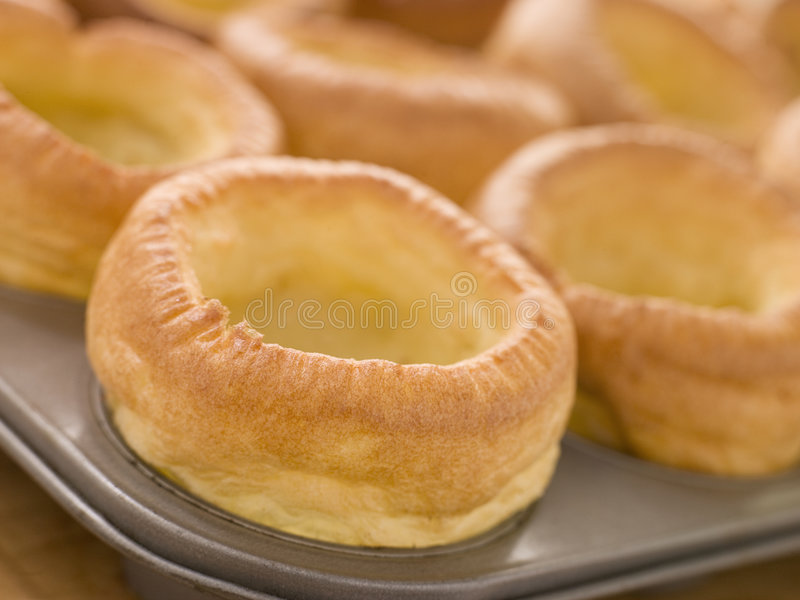 Tray of Yorkshire Puddings royalty free stock photography