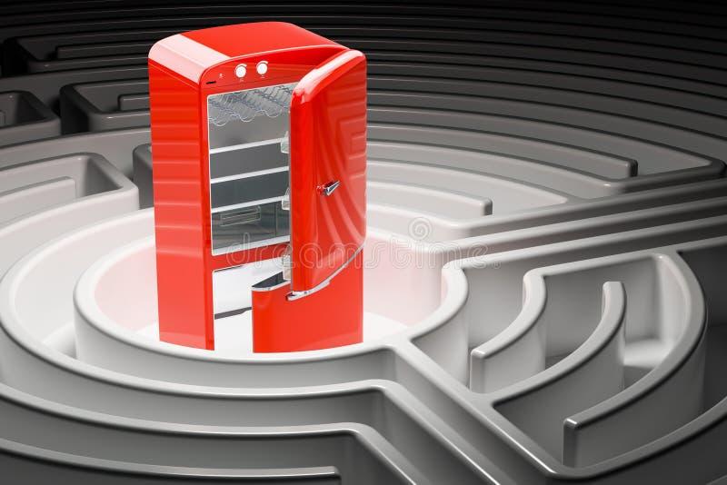 Trayectoria al concepto sano de la nutrición Refrigerador dentro del laberinto, 3D stock de ilustración