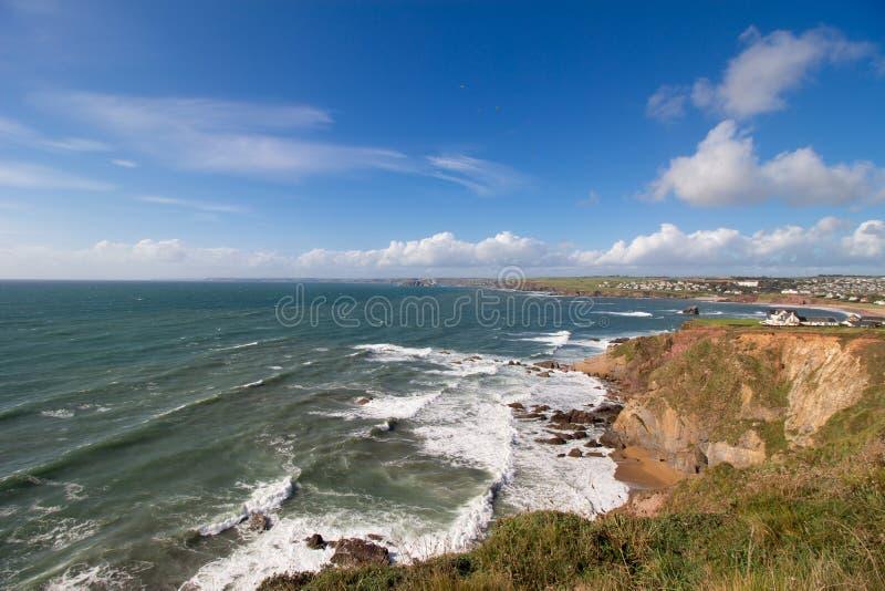 Trayectoria costera del sudoeste de Thurlestone la gran repisa, Devon imágenes de archivo libres de regalías