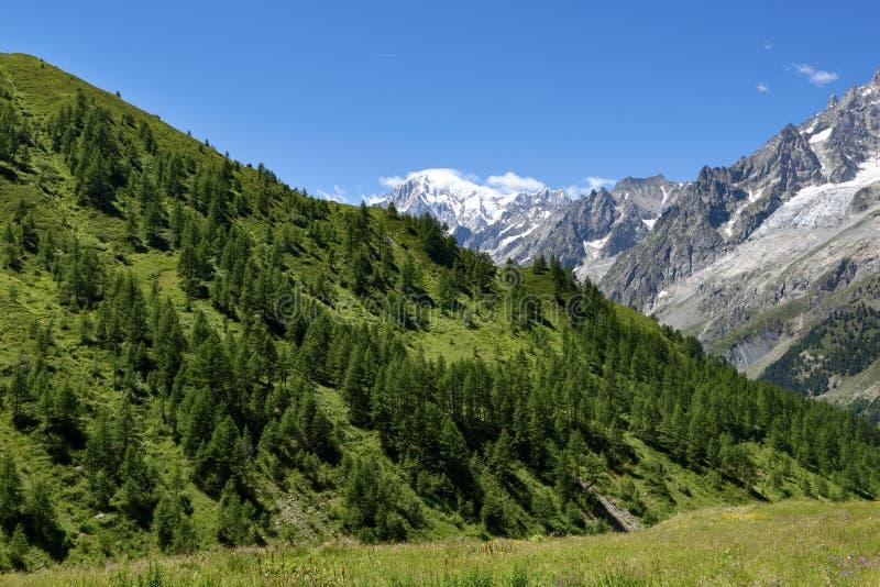 Trayectoria de la montaña que pasa por alto a Mont Blanc Blanc de du mont del viaje foto de archivo libre de regalías