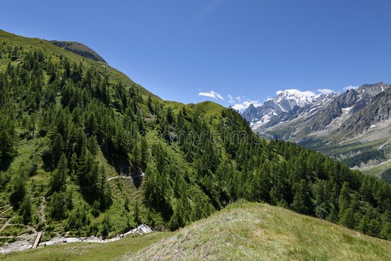 Trayectoria de la montaña que pasa por alto a Mont Blanc Blanc de du mont del viaje imagen de archivo