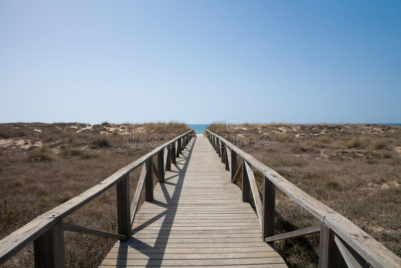 Trayectoria de madera al océano horizontal fotos de archivo libres de regalías