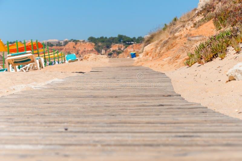 Trayectoria de madera a la playa de Falesia en Portugal imagenes de archivo