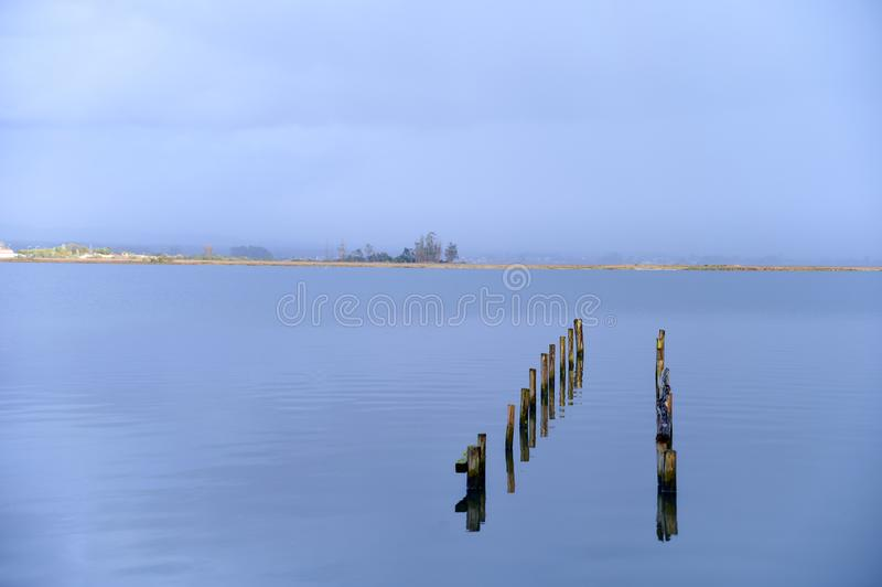 Trayectoria de polos en el agua imagenes de archivo