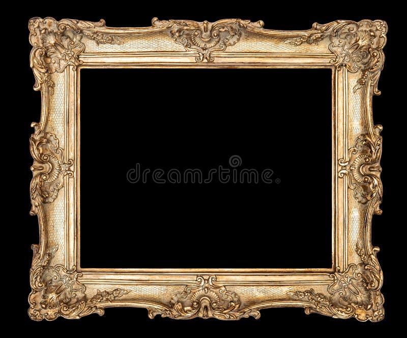 Trayectoria de recortes de oro del fondo del negro del marco fotografía de archivo