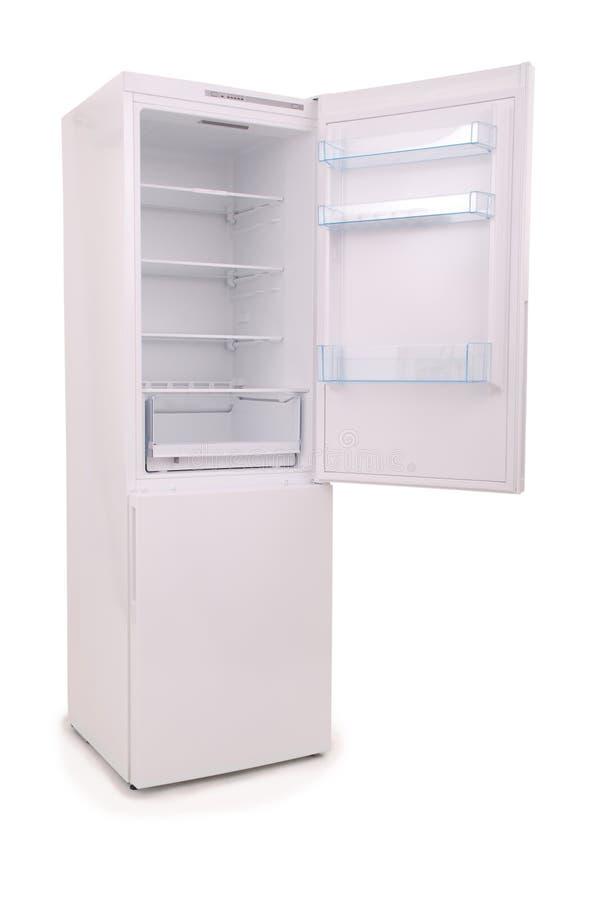 Trayectoria de recortes vacía abierta aislada del refrigerador imagenes de archivo