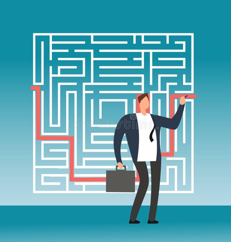 Trayectoria del derecho de giro del hombre de negocios al éxito en el laberinto complejo, laberinto Concepto creativo del vector  stock de ilustración