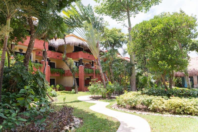 Trayectoria del paseo entre las palmeras y los préstamos en un centro turístico tropical con las casas de planta baja coloridas imagen de archivo libre de regalías