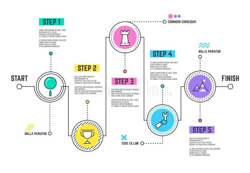 Trayectoria del viaje de la compañía Mapa itinerario de Infographic con la línea cronología de los pasos libre illustration