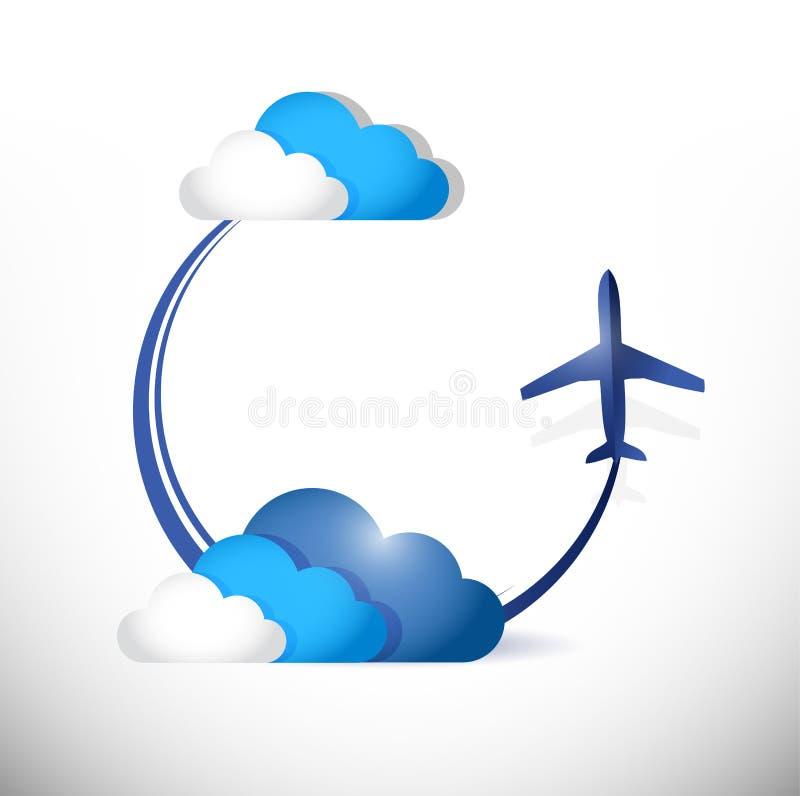 Trayectoria del vuelo del aeroplano alrededor de las nubes. ejemplo ilustración del vector