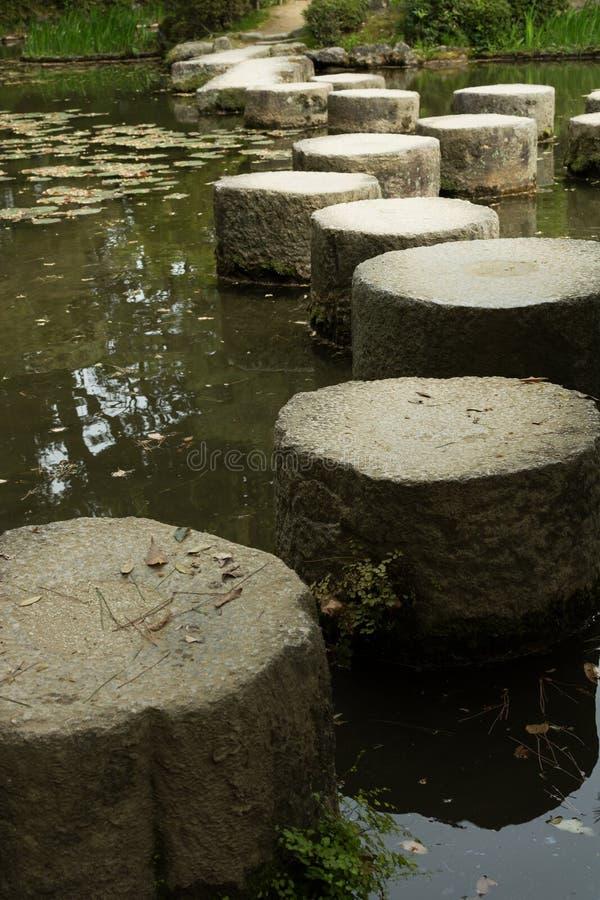 Trayectoria del ZEN Stone en un pone cerca de la capilla de Heian foto de archivo libre de regalías