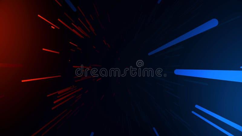 Trayectoria el hacer un túnel Túnel hyperspace multicolor abstracto en fondo negro Proyección de la cámara lenta de fotones libre illustration