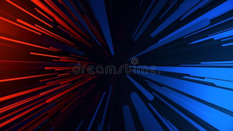 Trayectoria el hacer un túnel Túnel hyperspace multicolor abstracto en fondo negro Proyección de la cámara lenta de fotones ilustración del vector