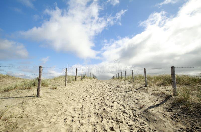 Trayectoria en la arena y el cielo azul imágenes de archivo libres de regalías