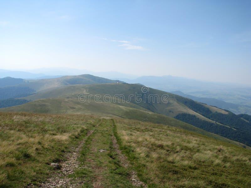 Trayectoria en las montañas cárpatas, la Ucrania del oeste de las altas montañas fotos de archivo