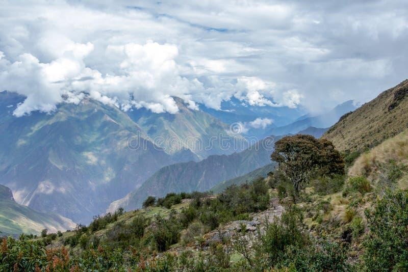 Trayectoria estrecha en la pista de senderismo en las montañas peruanas de la mucha altitud entre Maizal y Yanama, Perú fotografía de archivo libre de regalías
