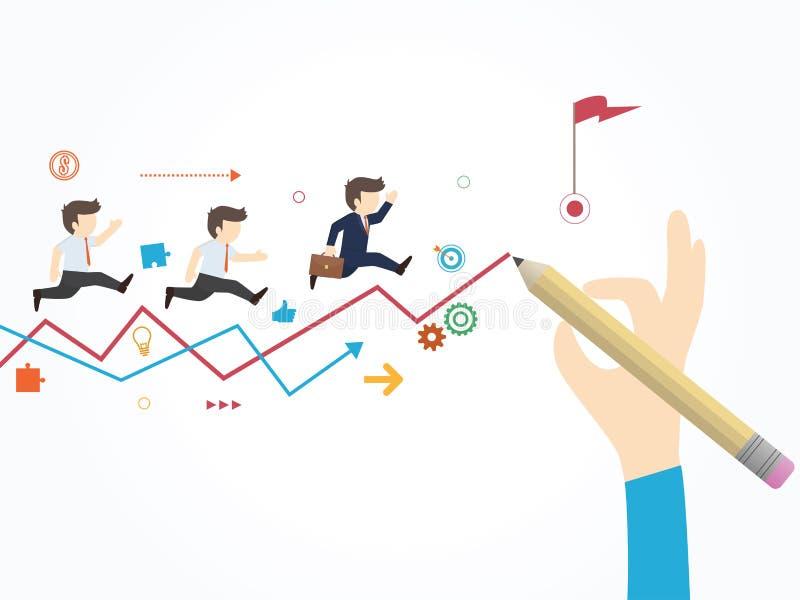 Trayectoria a la meta Mano del hombre de negocios que dibuja una línea que lleva a la meta libre illustration